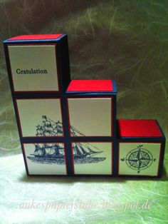 Ankes   Papierstube: Step Block card Fancy Fold Cards, Folded Cards, Man Birthday, Birthday Cards, Card Boxes, Step Cards, Graduation Cards, Pop Up Cards, Card Ideas