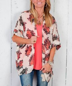 Love this Ivory & Pink Roses Kimono on #zulily! #zulilyfinds