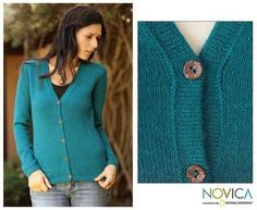 @Overstock - Parade regally in this luxurious womens alpaca sweater by Novica. Knitted by Peruvian artisans, this deep turquoise-colored cardigan will make you feel like Incan royalty. Five coconut buttons add a unique, environmentally-friendly touch.http://www.overstock.com/Worldstock-Fair-Trade/Womens-Alpaca-Wool-Turquoise-Sea-Cardigan-Sweater-Peru/6219899/product.html?CID=214117 $62.99