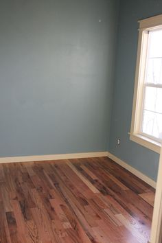 Possible master bedroom paint color - Benjamin Moore's 'Sea Star' Maybe hardwood floor in the rest of the house! Room Paint Colors, Paint Colors For Home, Bedroom Colors, Floor Colors, House Colors, Up House, My Living Room, My New Room, House Painting