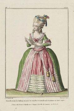 """""""Nouvelle Levite de Taffetas uni, avec les manches en amadices, la Garniture en Gaze rayée"""", Gallerie des Modes, 1780; MFA 44.1473"""