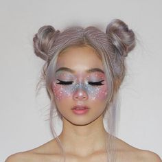 Halloween Makeup Looks Creative Makeup Looks halloween Makeup Makeup Clown, Unicorn Makeup, Hair Makeup, Halloween Makeup Unicorn, Unicorn Facepaint, Fairy Costume Makeup, Unicorn Halloween Costume, Star Costume, Unicorn Hair