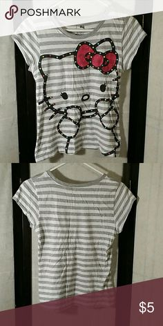 * Hello Kitty * T-Shirt Gray/White Striped * Cotton and Polyester  * No Trades * Bundle and Save * Thanks for the Posh Love! Hello Kitty Shirts & Tops Tees - Short Sleeve