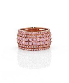 Cerrone pink diamond ring in rose gold, set with princess Pink Diamond Wedding Rings, Pink Diamond Ring, Diamond Jewelry, Diamond Cuts, Argyle Pink Diamonds, Colored Diamonds, Rare Gems, Perfume, Gold Set