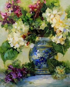 Blue China Larkspur and Hydrangeas is an original oil painting on museum quality linen board.