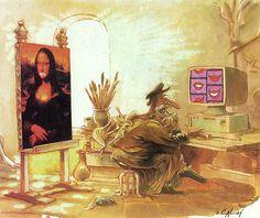 Caloi - La sonrisa de la mona lisa Mona Lisa Parody, Mona Lisa Smile, Classic Artwork, Photoshop, Humor Grafico, Arts Ed, Logo Nasa, Cartoon, Funny