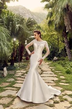 EDDY K bridal 2017 long sleeves sweetheart mermaid wedding dress (maui) fv illusion back