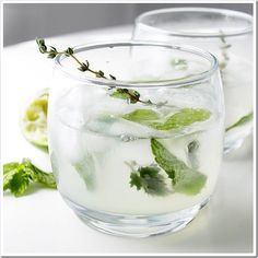 Spring Herb Mojitos - mint, lemon balm, and a sprig of thyme.