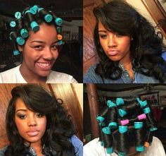 Big Hair is In, Get The Look with Perm Rods! Amber's long hair with per rods and then the results of brushing them out Pelo Natural, Natural Hair Tips, Natural Hair Styles, Roller Set Natural Hair, Flat Ironed Natural Hair, Texturizer On Natural Hair, Natural Curls, Love Hair, Big Hair