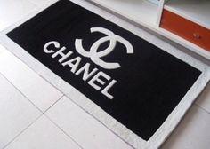 Chanel Logo Inspired Black Doormat Mat Rug by MadeWithLoveByLisaE, $120.00