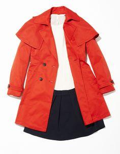 Red cape trench coat mix & match style / 미쏘의 케이프 코트로 스타일링한 로맨틱 코디