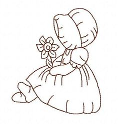 Sunbonnet Sue flower redwork 3 inch machine embroidery design instant download by BelsEmbroidery
