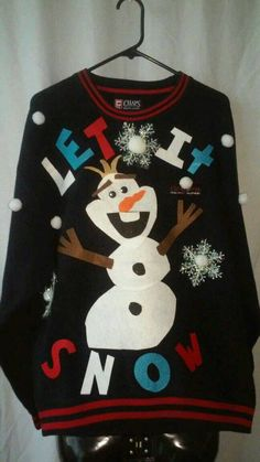 Olaf Snowman Sweater Grinchmas Womens and Mens by Gizmopurses Tacky Christmas Party, Diy Ugly Christmas Sweater, Ugly Sweater Party, Diy Christmas, Frozen Christmas, Christmas Outfits, Christmas 2017, Christmas Snowman, Christmas Stuff