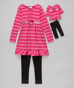 Love this Pink Metallic Stripe Tunic Set & Doll Outfit - Girls on #zulily! #zulilyfinds