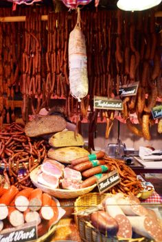 Sausages and other meat specialties in the Rathaus Christmas Market in Vienna