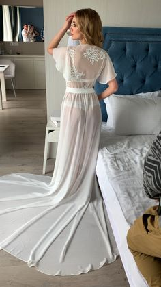Bridal robe with train sheer robe long bride robe maxi robe ivory chiffon robe bridal robe boho chiffon floor - Her Crochet Jolie Lingerie, Wedding Lingerie, Bridal Nightgown, Lace Nightgown, Modelos Fashion, Chiffon, Most Beautiful Dresses, Beautiful Women, Perfect Bride