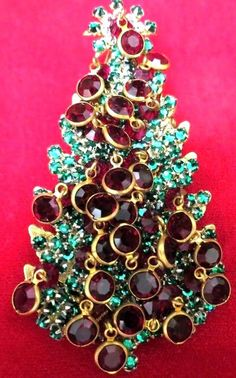 STANLEY HAGLER HASKELL RED CHANNEL SET DANGLES CHRISTMAS TREE PIN VNTG PERFECT!