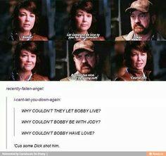 Bobby Singer Jody Mills I feel bad for chuckling. Destiel, Johnlock, Misha Collins, Jensen Ackles, Supernatural Memes, Supernatural Tattoo, Supernatural Wallpaper, Winchester Boys, Winchester Brothers