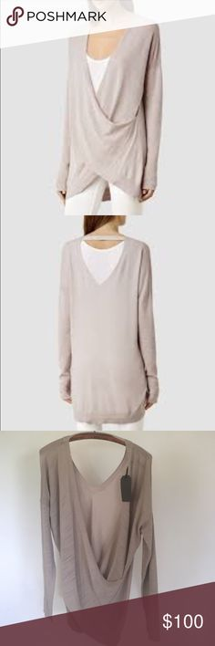 "NWT ALL SAINTS can be worn ""backwards"" as well. Super cute never worn light weight All Saints Sweaters"