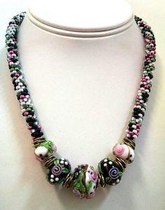Kumihimo Floral Focal Necklace Kumihimo by sparkleezcrystals