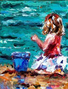 Her Blue Bucket, painting by artist Debra Hurd