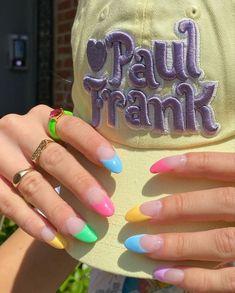 Pastel Nails, Cute Acrylic Nails, Cute Nails, Pretty Nails, Nail Design Glitter, Nail Design Spring, Nagellack Design, Accessoires Iphone, Girls Nails