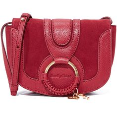 See by Chloe Hana Small Saddle Bag (£230) ❤ liked on Polyvore featuring bags, handbags, shoulder bags, acerola, red leather shoulder bag, red purse, saddle bags, genuine leather handbags and red leather purse