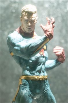 Spectacular large sized Vinyl Resin figure of Alan Moore's Re-Creation of MARVELMAN & continued by Neil Gaiman in MIRACLEMAN Comics & is available at QualityComicsAmerica