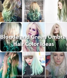 Blonde and Green Ombre Hair Color Ideas - Hair Colors Ideas Dyed Blonde Hair, Golden Blonde, Blonde Ombre, Bright Hair Colors, Platinum Hair, Natural Blondes, Ombre Hair Color, Undercut Hairstyles, Bleached Hair