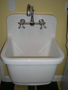 For the laundry room when we replace the in-counter sink. 😍😍 Kohler Sudbury Vintage Style Deep Sink - traditional - laundry room - other metro - Julie Murray Laundry Room Tables, Laundry Room Sink, Laundry Room Storage, Laundry Room Design, Closet Storage, Laundry Rooms, Mud Rooms, Laundry Area, Vintage Sink