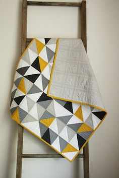 Craftyblossom: a quilt for harry. Black, White, Yellow and Shades of Grey ~ great baby boy quilt.