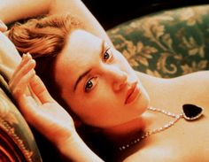 "'Titanic' (1997), The Movie, photos, set in 1912 (Dated): Rose (Kate Winslet) nude pose in the movie | Kate Winslet, Titanic Drawing Scene: Rose to Jack: ""I want you to draw me like your French girls. Wearing this...Wearing only this."""