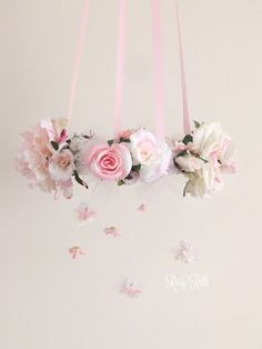 Babydoll pink and white rose flower mobile, princess inspired nursery mobile, baby girl pink floral chandelier, whimsical pink crib mobile