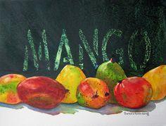 Mango Fruit Art Print of Original Watercolor by BarbaraRosenzweig, $48.00