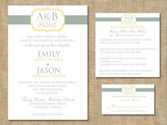 Monogram Wedding Invitation RSVP and by graceloveDesigns on Etsy