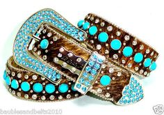 BHW CoWgiRl WeStErN BrOwN BriNdLe 5 RoW TuRqUoiSe RhiNeStOnE BeLt