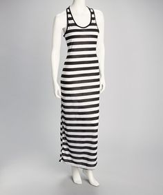 Take a look at this Black & Ivory Stripe Racerback Maxi Dress by Clothing Showroom on #zulily today! $14.99, regular 32.00