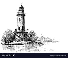 Lighthouse pencil drawing Etch style Royalty Free Vector What is Art ? Landscape Pencil Drawings, Pencil Drawings Of Flowers, Pencil Drawings Of Animals, Landscape Sketch, Lighthouse Sketch, Lighthouse Art, Faro Tattoo, Watercolor Pictures, Pictures To Draw
