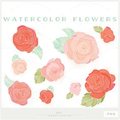 9 high quality digital wild rose flowers. Displayed in a pink and coral watercolor theme - but can be customized to any color and size! Ideal for