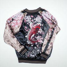 HEAVY EMBROIDERY Miyabi Musubi, Sukajan Souvenir Jacket  fish embroidery
