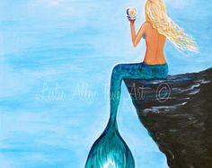 Mermaid Mermaids ART PRINT GICLEE Woman Girl by LeslieAllenFineArt