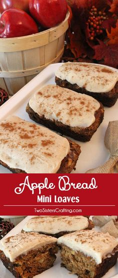 These Apple Bread Mini Loaves are a super delicious Thanksgiving dessert that would be a great option for your guests who don't really like pie. It would also be a wonderful holiday food gift for teachers or neighbors. Or you just might want to eat one yourself with a cup of hot coffee! Follow us for more great Thanksgiving Food and Christmas Food ideas.