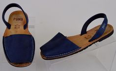 women's PONS Avarcas solid blue leather Flat slingback slip on Sandal Sz 9 used #PONSAvarca #AnkleStrap #Casual