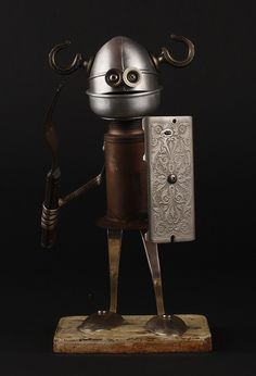 Found Object Robot Assemblage Sculpture by Brian Marshall. ***Research for possible future project.