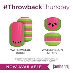 #Jamberry #ThrowBackThursday with a twist! #WatermelonStripeJN and NEW #WatermelonBurstJN are perfect for #Summer2016 - get yours June 9-13 ONLY! www.noelgiger.jamberry.com