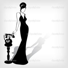 Woman Silhouette | The Vector vintage retro woman silhouette background - Stock ...