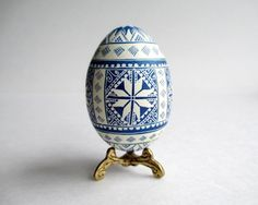 Navy Blue Pysanka egg  Easter Egg Blue and White,  Ukrainian Easter egg, batik painted egg shell