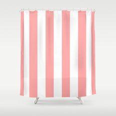 Coral Pink Stripe Vertical Shower Curtain