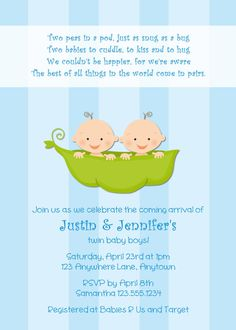 Sweet pea 2 peas two in a pod baby shower invitations invites cards sweet pea 2 peas two in a pod baby shower invitations invites cards announcements twins baby shower ideas for dor pinterest shower invitations filmwisefo