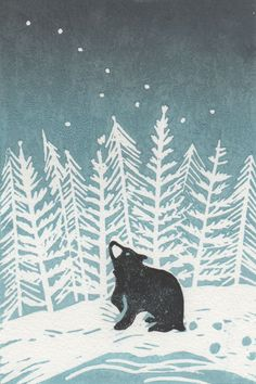 Stargazey Bear by BearPrintDesign via Folksy